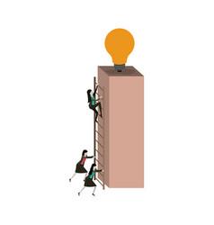 White background with businesswomen climbing vector