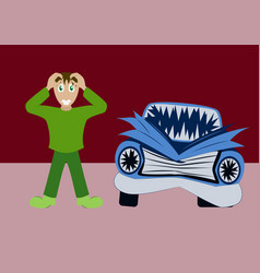 Worried driver with his breakdown car vector
