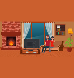 young couple sitting on sofa watching tv vector image