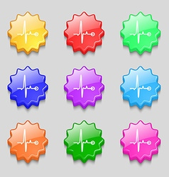 Heartbeat icon sign symbol on nine wavy colourful vector
