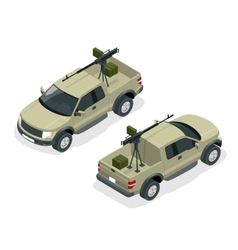 Isometric model of pickup truck armed with machine vector