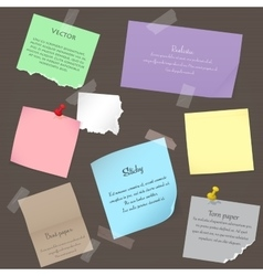 Set of paper banner notes stickers Pieces of torn vector image