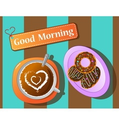 Morning relax coffee break and donut vector