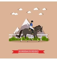 Girl horseback riding flat design vector