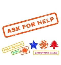 Ask for help rubber stamp vector