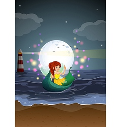 A fairy riding on a boat at the beach vector image