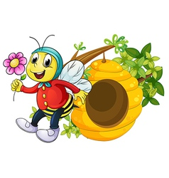A bee holding a flower vector