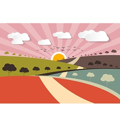 Morning - evening rural paper landscape background vector