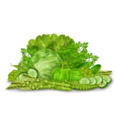 Green vegetables mix on white vector