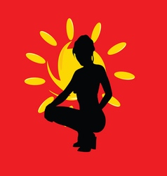 Girl with sun silhouette on red vector