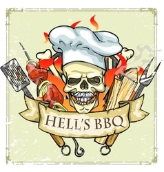 Bbq grill label design - hells bbq vector