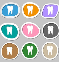 Tooth icon multicolored paper stickers vector