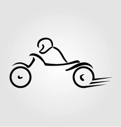 A biker on a motorbike with abstract lines vector