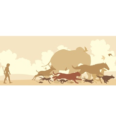 Animals fleeing man vector image vector image