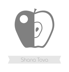 Apple rosh hashanah icon shana tova vector