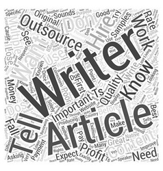 Article outsourcing dos and donts word cloud vector