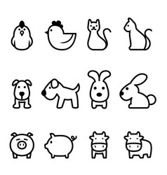 basic animal icon vector image vector image