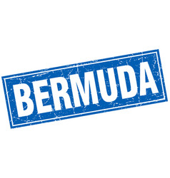Bermuda blue square grunge vintage isolated stamp vector