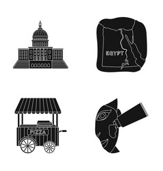 Building map of egypt and other web icon in black vector