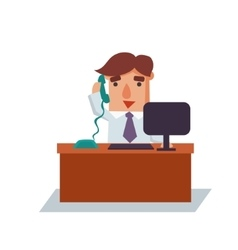Business Man on Phone Cartoon Character vector image vector image