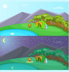 Camping banner set horizontal cartoon style vector