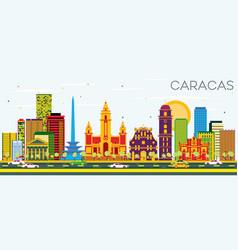 Caracas skyline with color buildings and blue sky vector