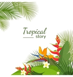 Colorful tropical flower plant and leaf pattern vector image