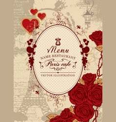 Cover menu with the eiffel tower heart and roses vector