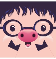 Cute icon pig face with emotions character vector