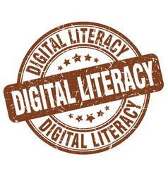 Digital literacy brown grunge stamp vector