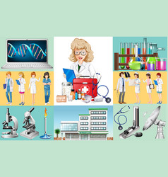 doctors and nurses work at hospital vector image