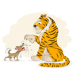 dog barking at a tiger vector image vector image