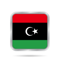 Flag of libya shiny metallic gray square button vector