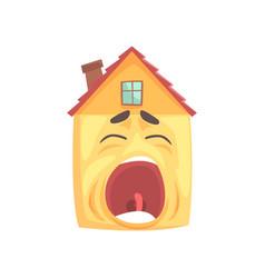 Funny sleepy house character yawning funny facial vector