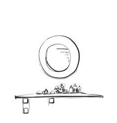 Hand drawn table chair and mirror sketch vector