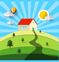house on hill flat design natural landscape vector image vector image