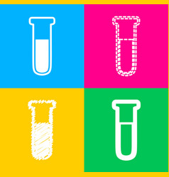 Medical tube icon laboratory glass sign four vector