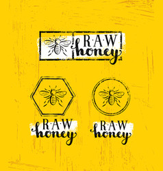 Raw honey creative sign concept organic vector