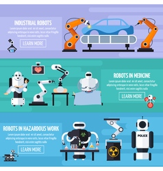 Robots Banners Set vector image vector image