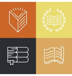 set of outline education logos and icons vector image