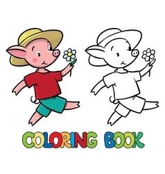 Walking little piglet coloring book vector