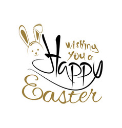 Wishing you a happy easter greeting inscription vector
