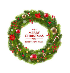 Xmas wreath with text vector