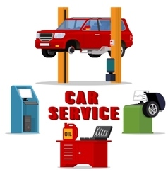 Concept car services - vehicle repair and vector