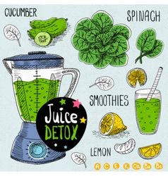Juice detox set vector