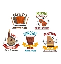 Musical instrumetns icons for festival concert vector image