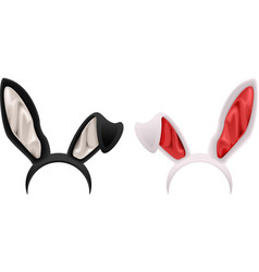 Black and white rabbit ears mask vector