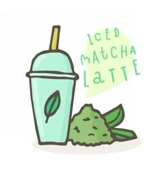 Iced matcha latte plastic cup and tea powder vector