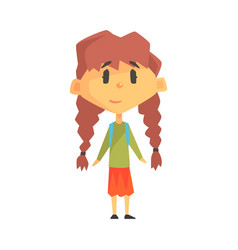 Girl with two plats primary school kid vector