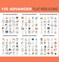 Advanced flat web icons vector